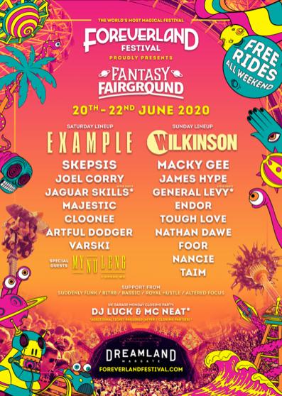 Foreverland at Dreamland 2020 festival line-up poster
