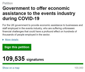 Coronavirus festival petition screenshot