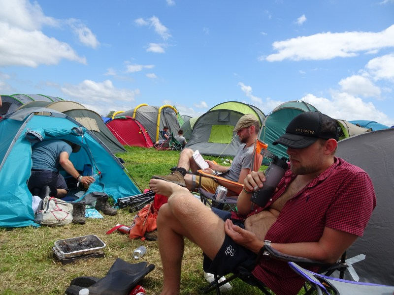 Glastonbury 2019 attendees in the campsites
