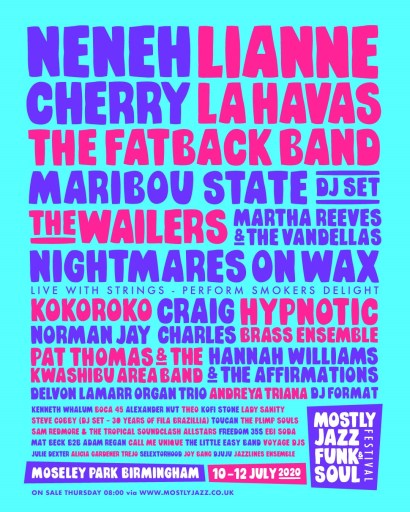 Mostly Jazz, Funk and Soul 2020 line-up poster