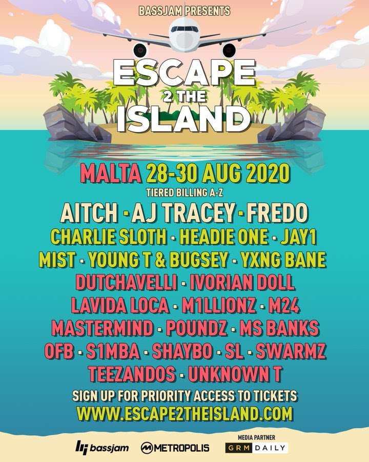 Escape 2 the island 2020 line-up poster