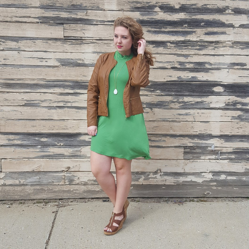 Luck of the Irish Shift Dress and Faux Leather Jacket