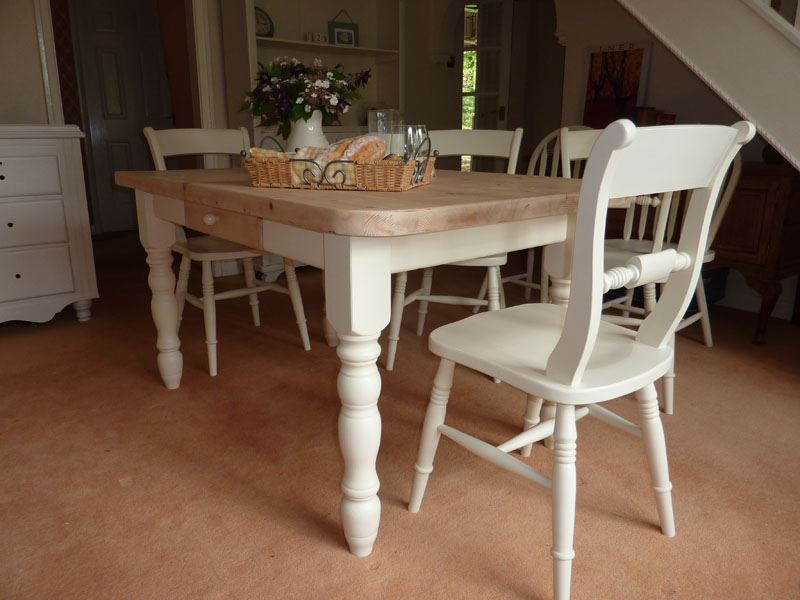 Pine Block Farmhouse Table and 6 ChairsPainted Vintage