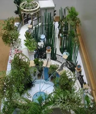 Model of Indoor Children's Garden, showing the Central Cove (close) and the Bamboo Maze (distant). Model by Longwood Gardens staff. Image: Longwood Gardens.