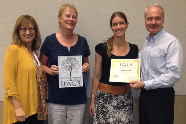 Barry Price Steinbrecher receives her 2nd place certificate from Paul Dolinsky, Chief of HALS. Gina Chorover, Arizona ASLA Chapter HALS Liaison, is at the left and Helen Breslich Erickson is second from left. All 3 woman are founding members of the HALS Arizona Chapter (http://www.azhals.org/Arizona_HALS/Home.html).