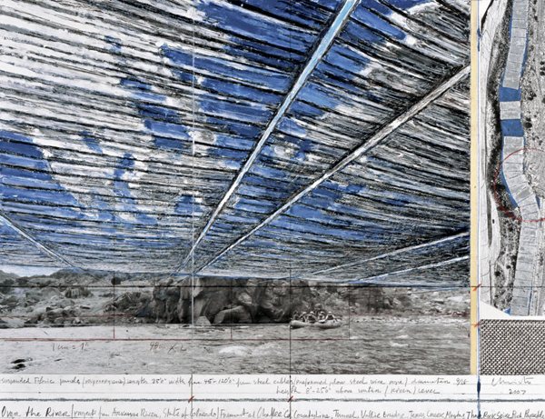 Christo, Over the River, Project for Arkansas River, State of Colorado, Collage 2007