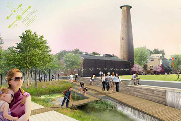 In the Meeting Green design, green infrastructure adds a new dimension to play at Shot Tower Playground. image: OLIN Design Studio, Gilmore & Associates, International Consultants Inc., MM Partners LLC, Penn Praxis, SMP Architects