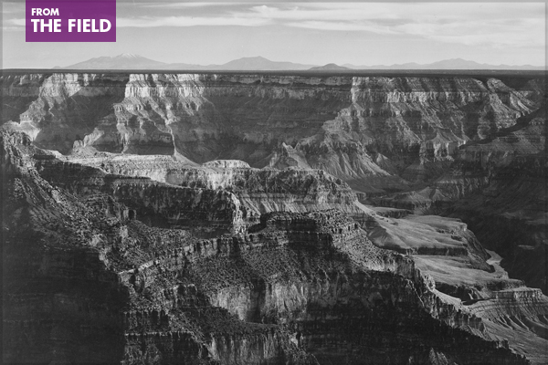 Broad view with detail of canyon, horizon, and mountains above, Grand Canyon National Park, Arizona, from the series: Ansel Adams Photographs of National Parks and Monuments, compiled 1941-1942, documenting the period ca. 1933-1942 image: The U.S. National Archives via Flickr Commons