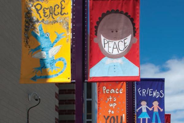 Harrington Elementary student banners image: Michelle Burdis