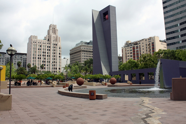 Pershing Square; Los Angeles; redesigned and renovated by architect Ricardo Legorreta and landscape architect Laurie Olin; opened in 1994  image: Taner R. Ozdil, 2011