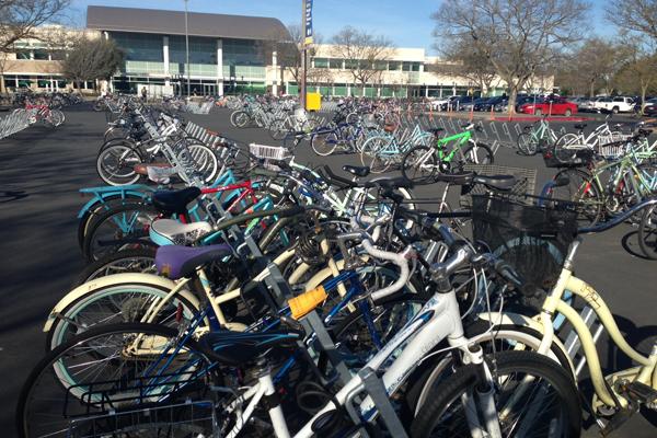 Temporary bike parking area built in car parking lot image: Skip Mezger