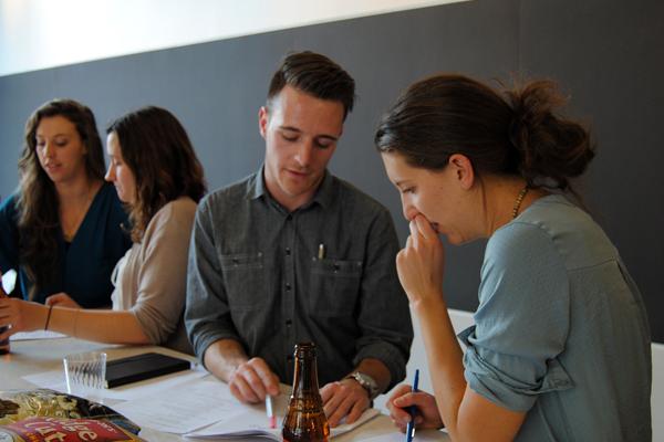 Portfolio Workshop: Bodie Hultin (CU-Boulder ENVD, Senior) and Anna Cawrse (Design Workshop)  image: joni m. palmer