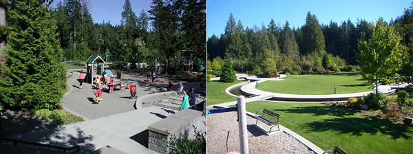A playground within preserved trees (left), and Smith Park (right) image: Cynthia Girling