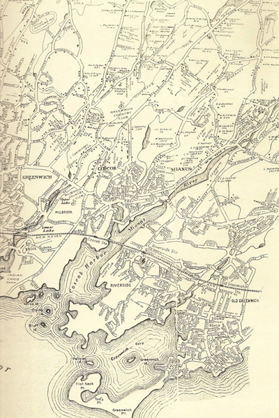 Map of Cos Cob, Connecticut, showing Wertheim's property, the former Seton estate, west of the Mianus River, circa 1942 image: James O'Day