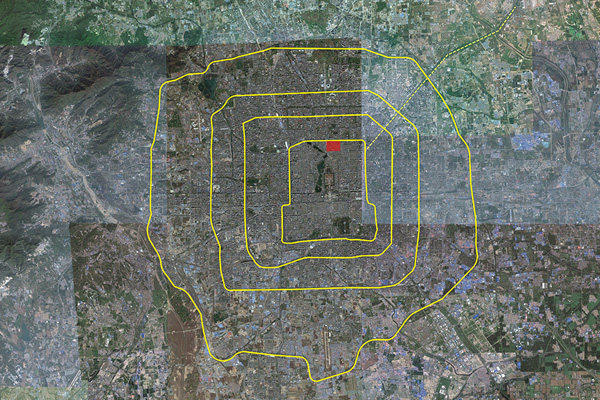 Map of the Ring Roads (red square depicts Gulou site north of the Forbidden City) image: Shawn Balon