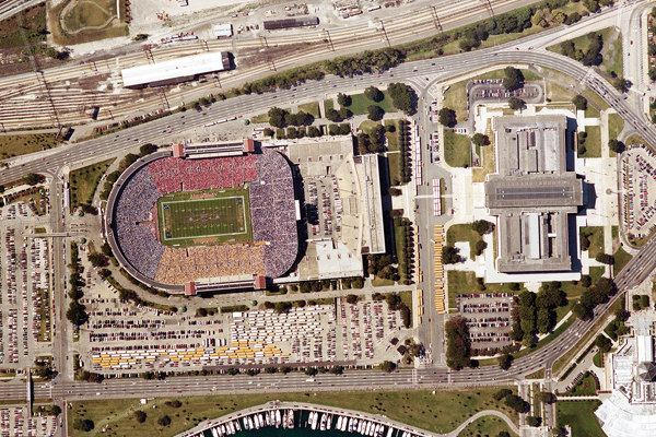 Existing condition: Aerial photo of Soldier Field prior to redevelopment image: courtesy of Hoerr Schaudt