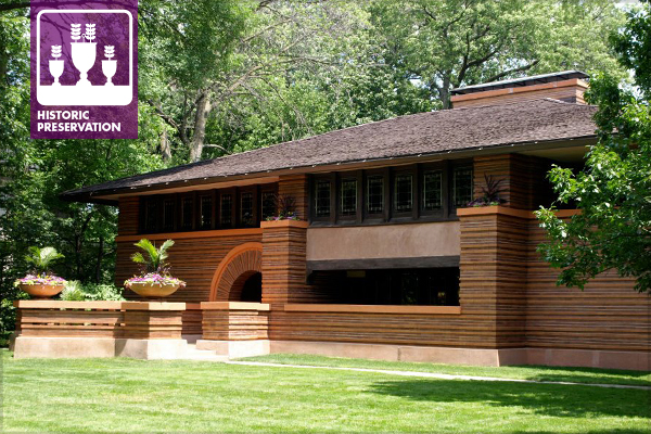 The Arthur B. Heurtley House, designed by Frank Lloyd Wright, in Oak Park, Illinois, the subject of an ASLA Annual Meeting field session image: Alexandra Hay