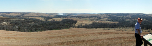 Figure 3: 13.5-square mile Konza Prairie in Kansas—late March during a spring burn. Pictured is Kansas State professor Chip Winslow. image: David Hopman