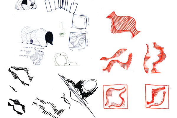 Peritoneum. Sketches. Each student expressed their own design ideas and, as a team, discussed and narrowed down to a final design. – 2012 Award of Excellence Winner for Student Collaboration image: Tim Trumble and Anna Christy