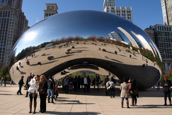 Anish Kapoor's Cloud Gate sculpture, aka the Bean, in Chicago's Millennium Park image: Alexandra Hay