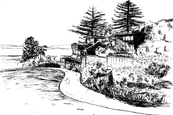 Northwest-facing view, Greenwood Common, Berkeley, CA image: drawn by Da Hyi Ku