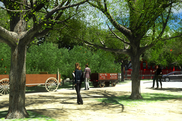 Lemon Grove Plaza Rendering in LumenRT image: Matthew Wilkins & Stephen Nunez, KTU+A