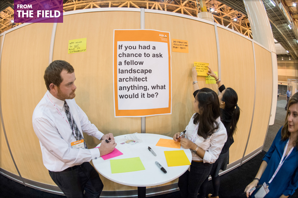 At the ASLA Annual Meeting's EXPO in New Orleans this October, attendees had a chance to sound off on what they'd like to find out from their PPN peers. image: Event Photography of North America Corporation (EPNAC)