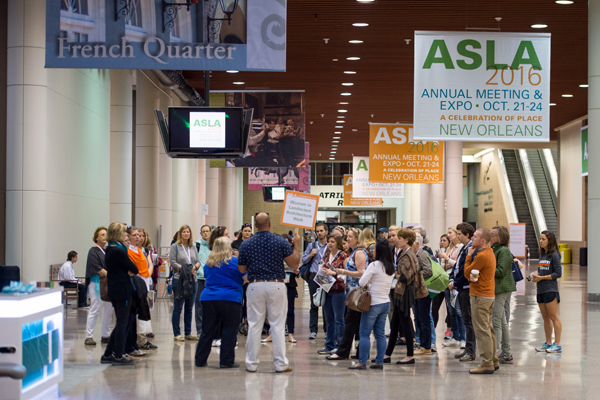More than 40 WILA Walk attendees, undaunted by the 7 AM start time and including members of the WILA PPN leadership team, gather in the Convention Center before heading out. image: Event Photography of North America Corporation (EPNAC)