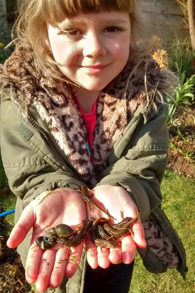 Esme holding newts
