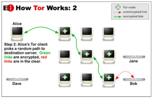 A diagram showing the traffic flow inside The Onion Router network