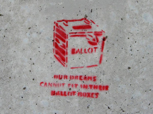 """Our dreams cannot fit in their ballot boxes"" by David Drexler"