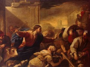 Jesus chasing the money changers from the temple.