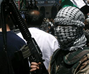 """""""Palestinian militant with rifle"""" by atphalix"""