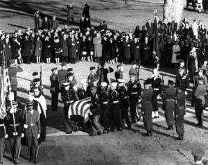 Green Berets ring the President's casket.