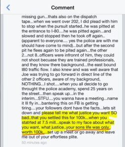 Enlarged Screenshot of comment. Image Source: On file to protect from police backlash. Image is released into public domain.