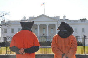 Guantanamo bay protest in from of White House.  Image Source: Medill DC,  flickr, Creative Commons