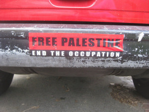 "Image Source: futureatlas.com, Flickr, Creative Commons ""Free Palestine"" bumper sticker"