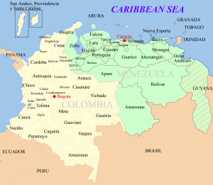 """Image Source: """"Colombia Venezuela map"""" by F3rn4nd0 10:30, 31 December 2007 (UTC) - Own work. Licensed under CC BY-SA 3.0 via Wikimedia Commons - https://commons.wikimedia.org/wiki/File:Colombia_Venezuela_map.png#/media/File:Colombia_Venezuela_map.png"""