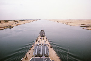 Image Source: National Museum of the U.S. Navy, Flickr, Creative Commons DN-ST-87-02528 The battleship USS MISSOURI (BB 63) transits the Suez Canal while en route to Istanbul, Turkey. The ship is on an around the world shakedown cruise, 1986. Official U.S. Navy Photograph, now in the collections of the U.S. National Archives - Online Public Access.
