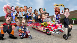 Image Source: DonkeyHotey, Flickr, Creative Commons 2016 Republican Clown Car Parade - Christie Joins the Menagerie