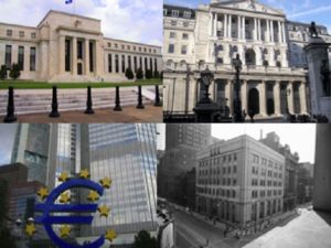Clockwise from top-left: Federal Reserve, Bank of England, European Central Bank, Bank of Canada (Wikipedia)