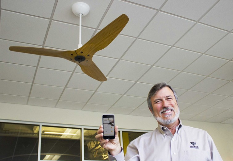 Big Ass Fans founder Carey Smith showing off the Nest-integrated fan