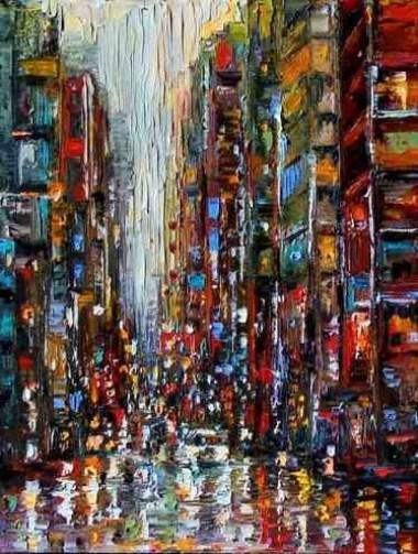 Night traffic lights, by Leonid Afremov