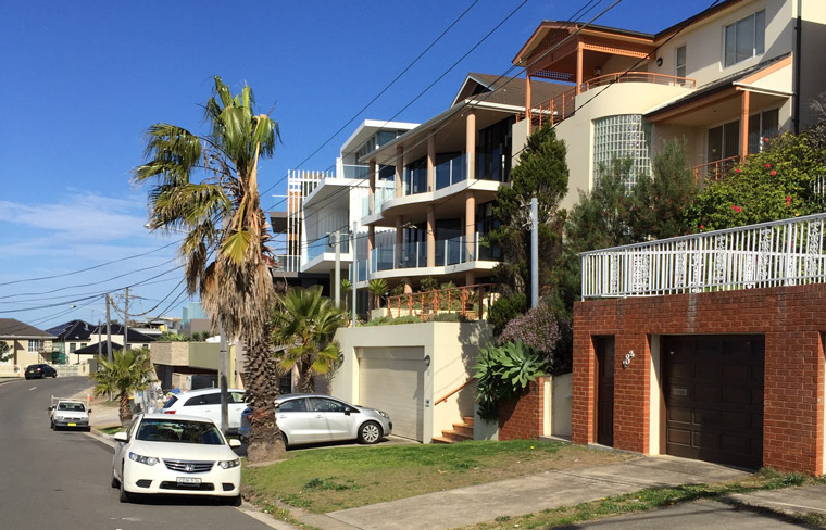 City dreaming in Maroubra, Sydney, where bigger is better and aggressive blandness is all.