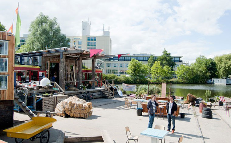 Summer hang out space: the stage functions as a venue for live music, art and performances. Photo by Martin van Wijk.