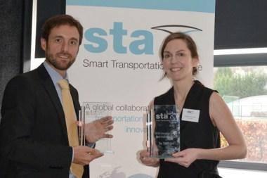 Caroline Jones-Carrick accepting the Smart Transportation Alliance's award for Best Innovation Project.