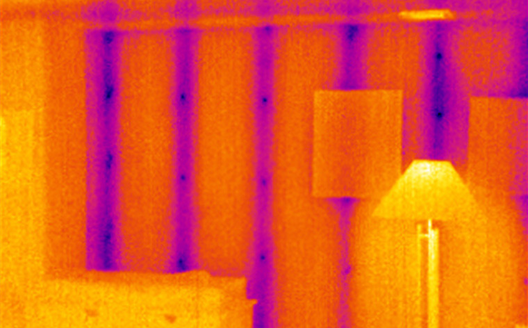 Thermal bridging shown in a thermal image taken by an infrared camera.