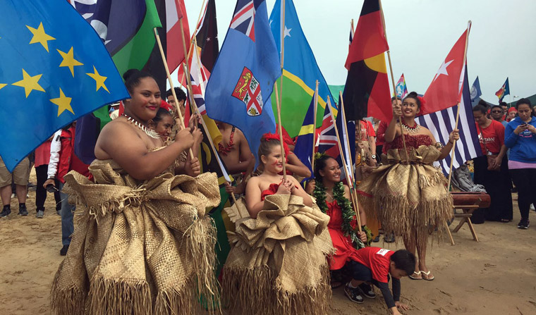 A contingent of Pacific Island representatives joined the protest