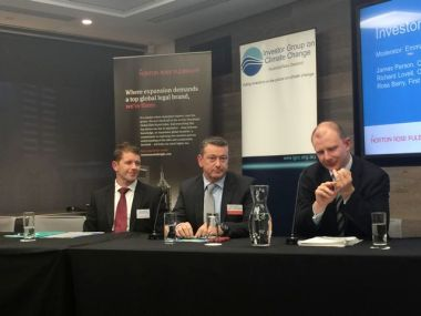 From left: Ross Barry, First State Super; Richard Lovell, Clean Energy Finance Corporation; James Person, QBE Insurance Group