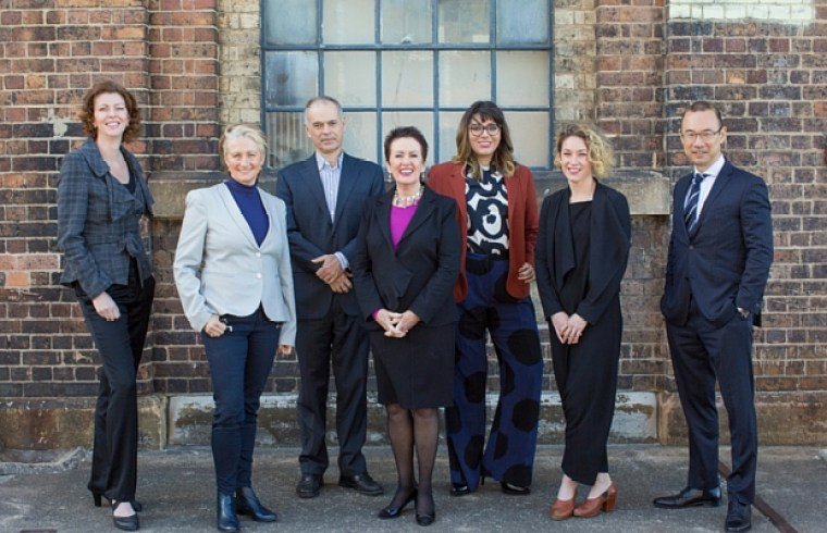 (L-R): Catherine Lezer, Kerryn Phelps, Philip Thalis, Clover Moore, Jess Scully, Jess Miller and Robert Kok.
